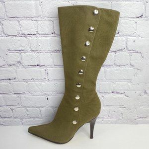 Nine West Green Military Studded Heeled Boots